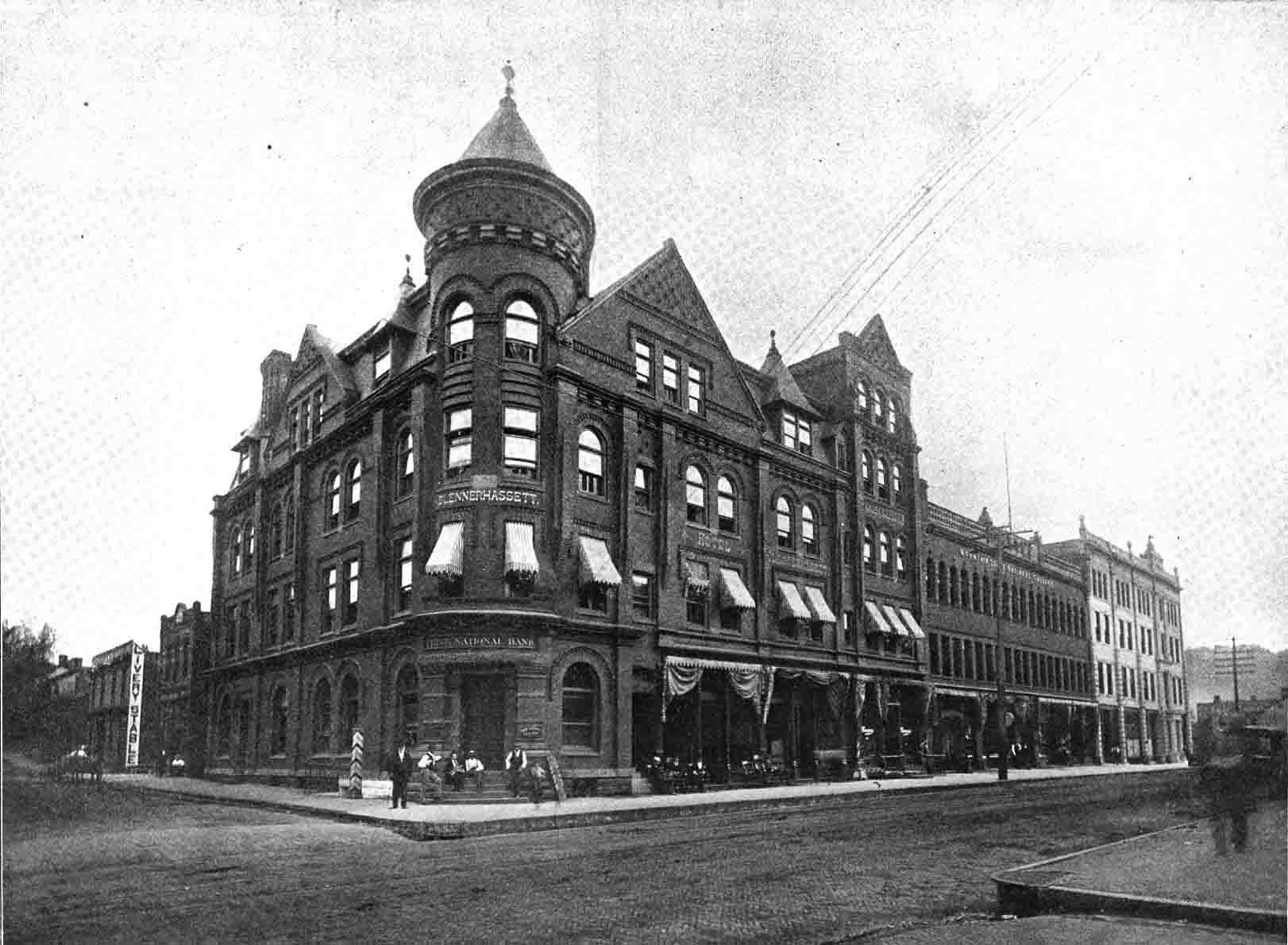 A View On Market Street Showing First National Bank Blennerhell Hotel W H Flanagan G Niswander E Smith Sons Mountain State